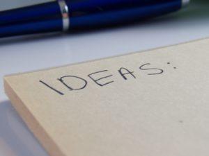 Paper with ideas written on it